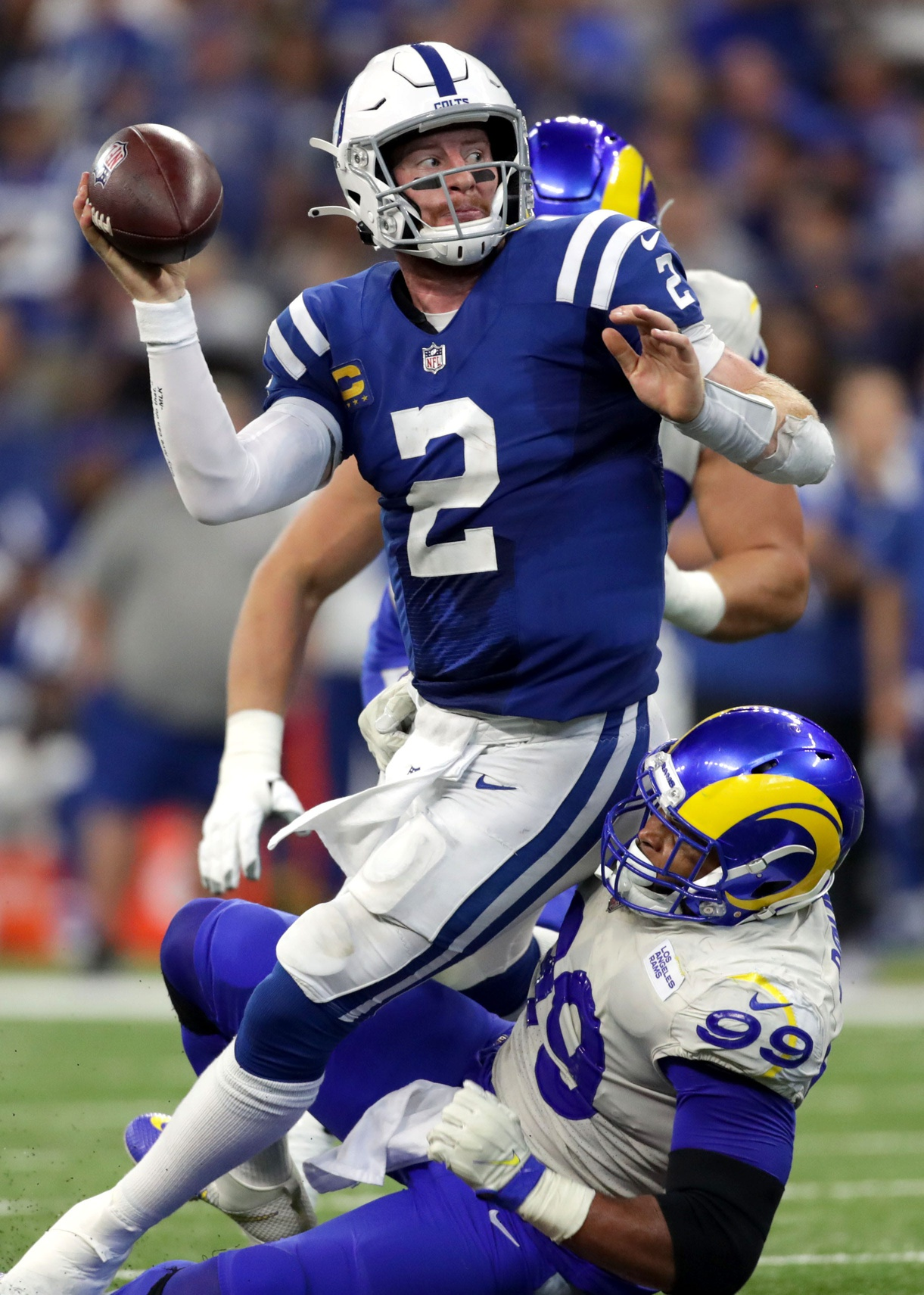 Rams beat Colts, Wentz to undergo ankle evaluation